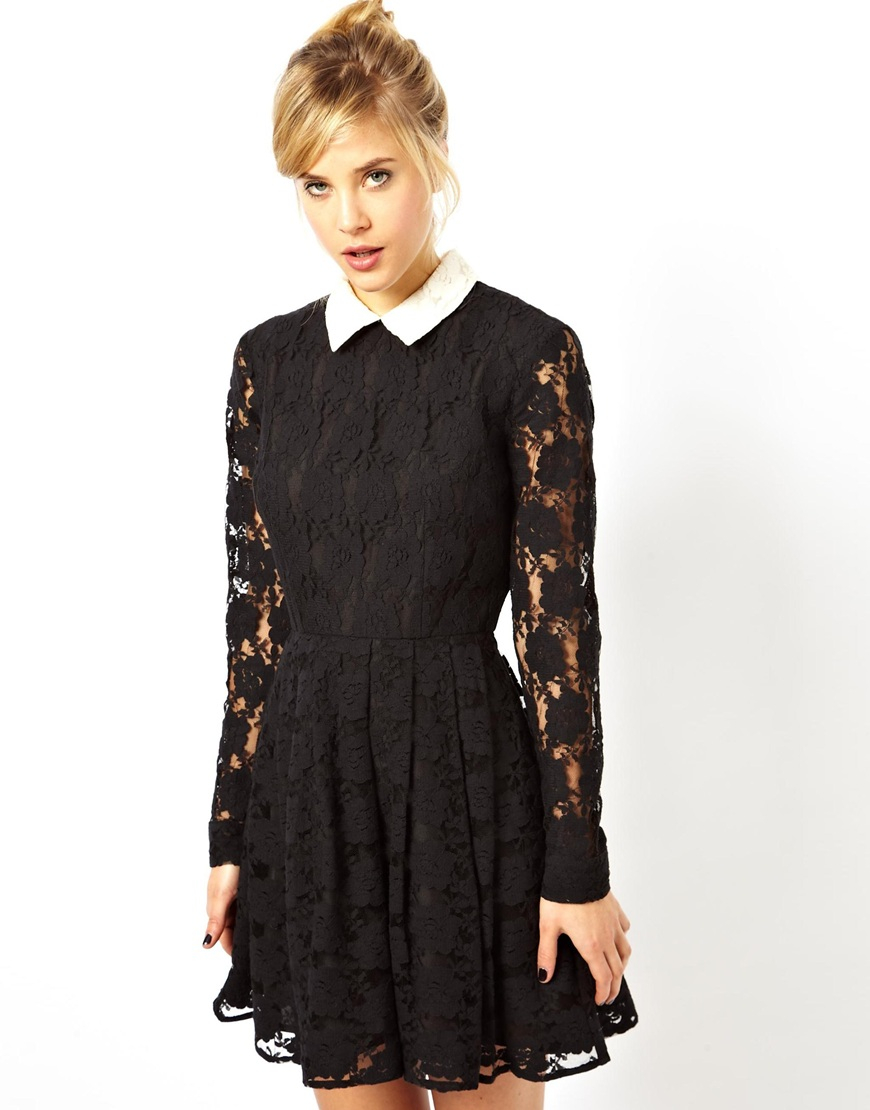Black dress with white lace collared