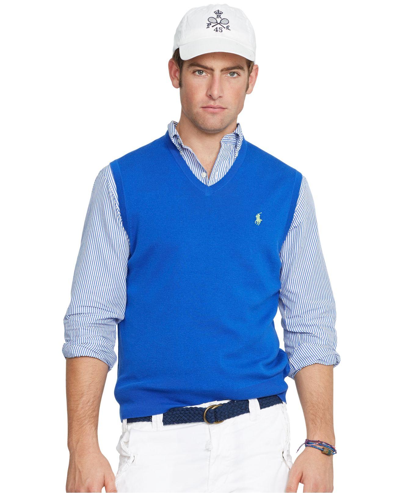polo ralph lauren pima v neck vest in blue for men lyst. Black Bedroom Furniture Sets. Home Design Ideas
