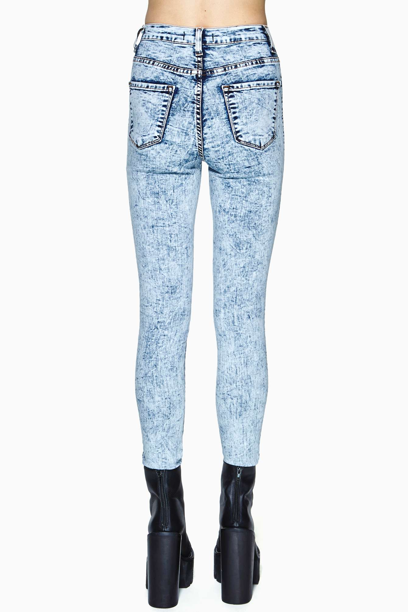 Nasty gal White Out Skinny Jeans in Blue   Lyst