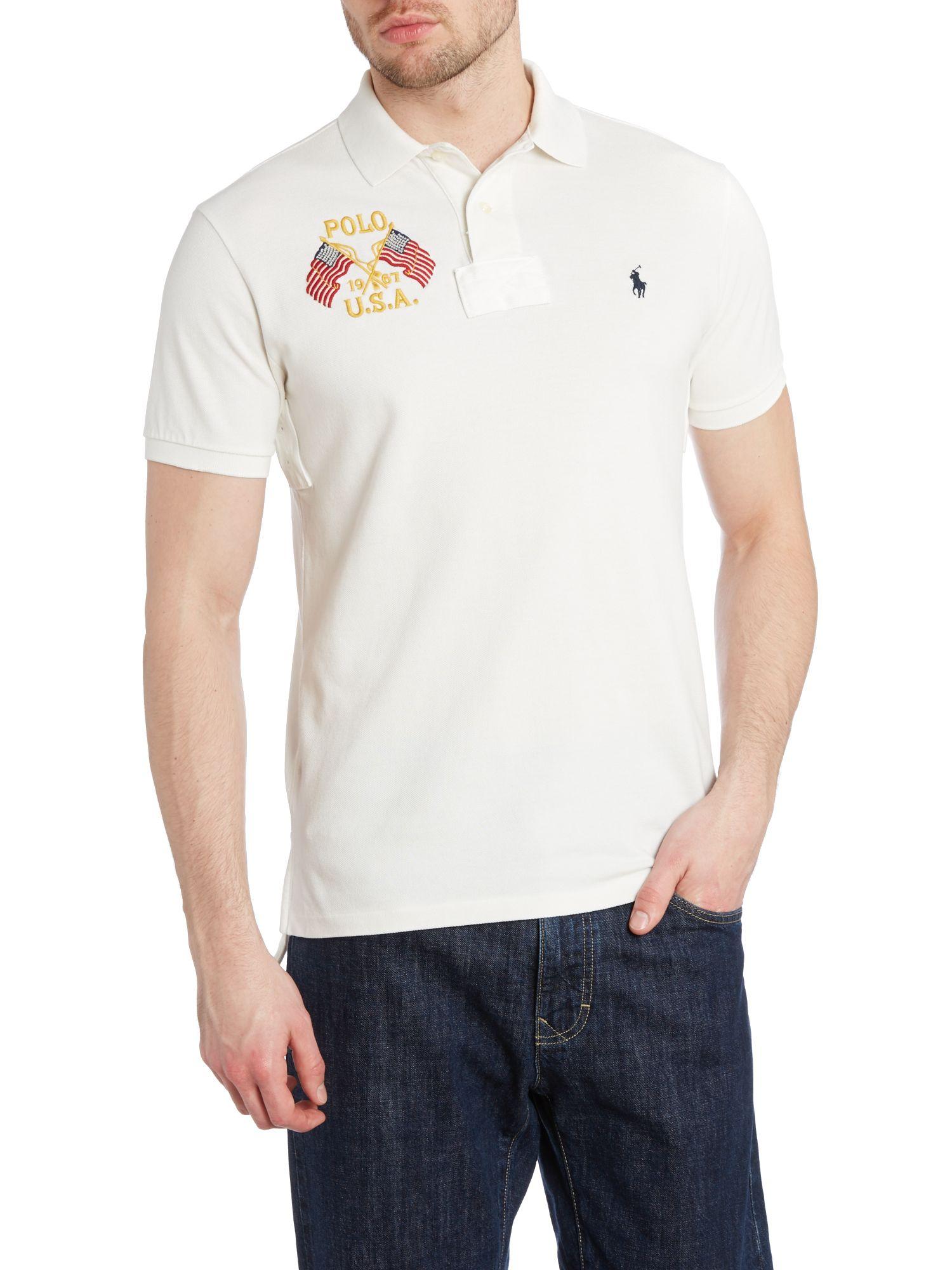 Polo Ralph Lauren White Custom Fit Short Sleeve Mesh W