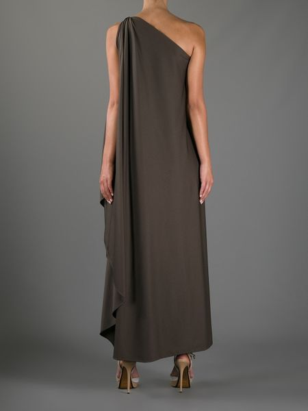 Halston Heritage One Shoulder Toga Dress In Brown Lyst