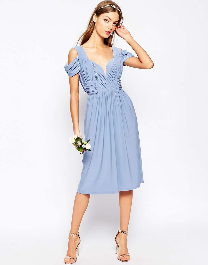 Asos Wedding Drape Cold Shoulder Midi Dress In Blue Lyst