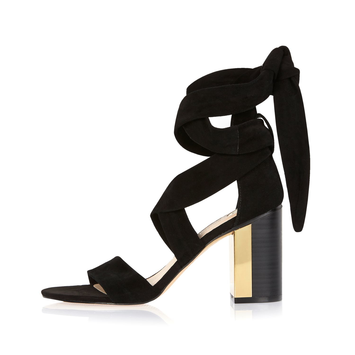Black heeled sandals river island