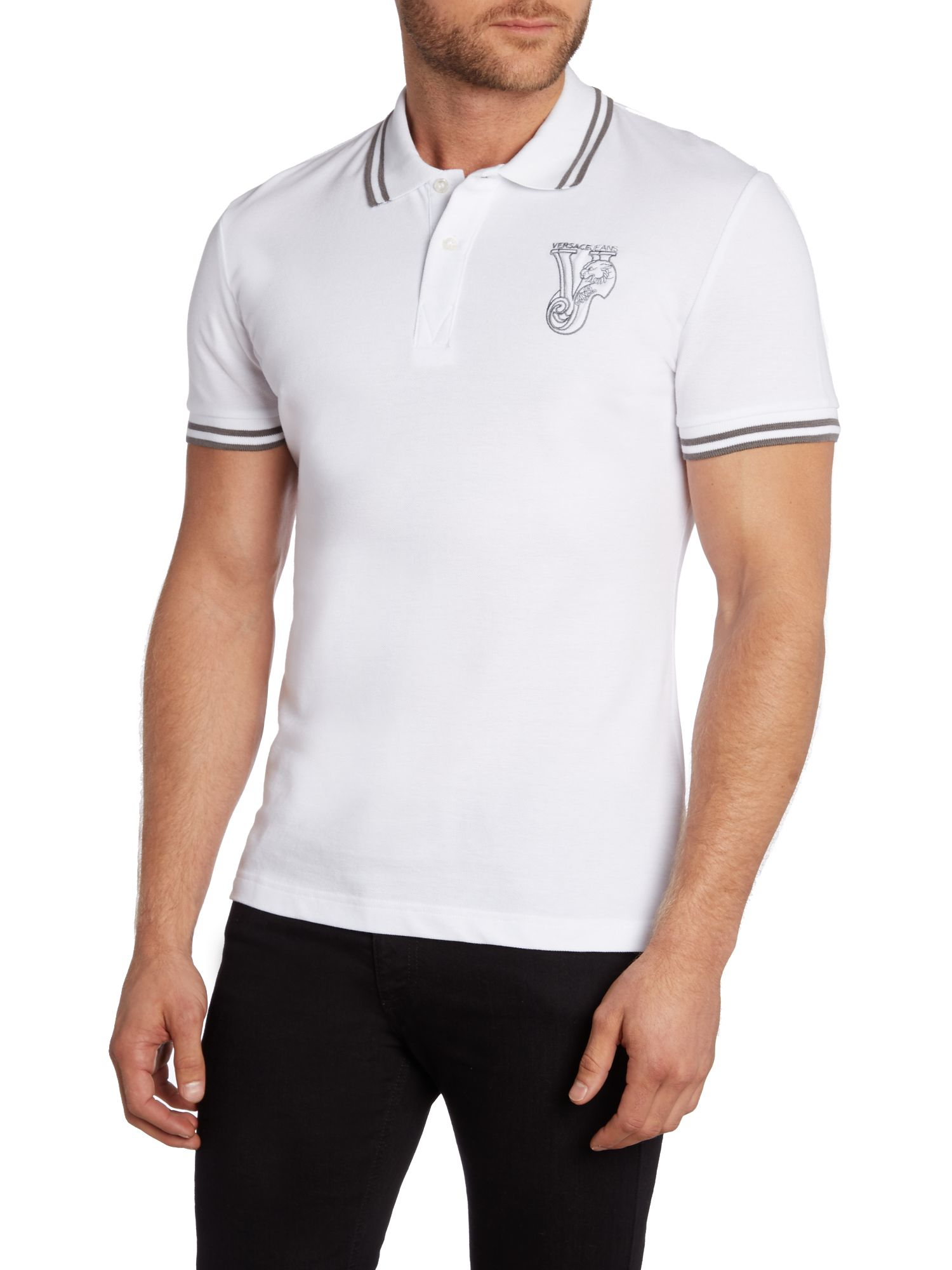 Lyst versace jeans slim fit tipped collar logo polo for Man in polo shirt