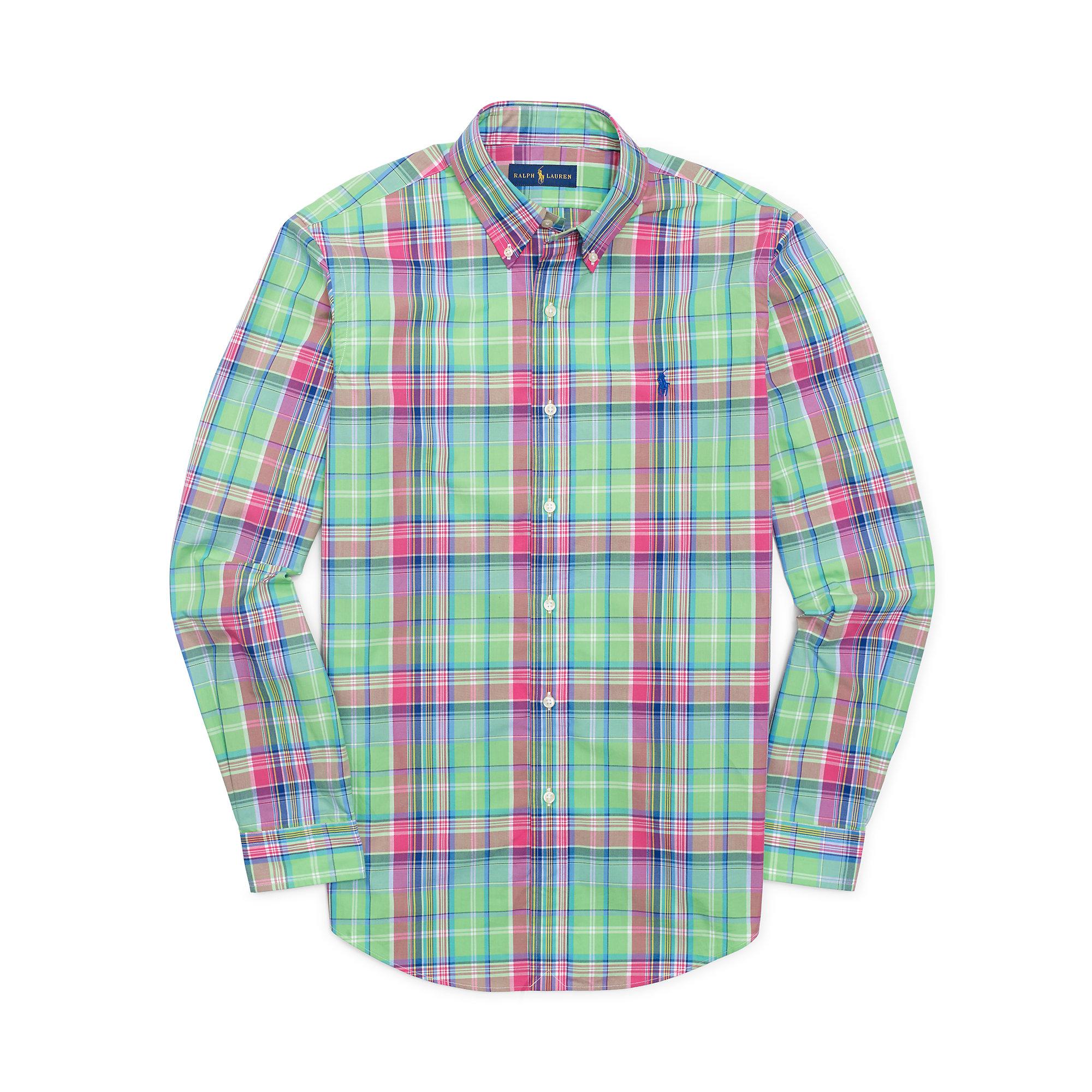 polo ralph lauren plaid cotton poplin shirt for men lyst. Black Bedroom Furniture Sets. Home Design Ideas