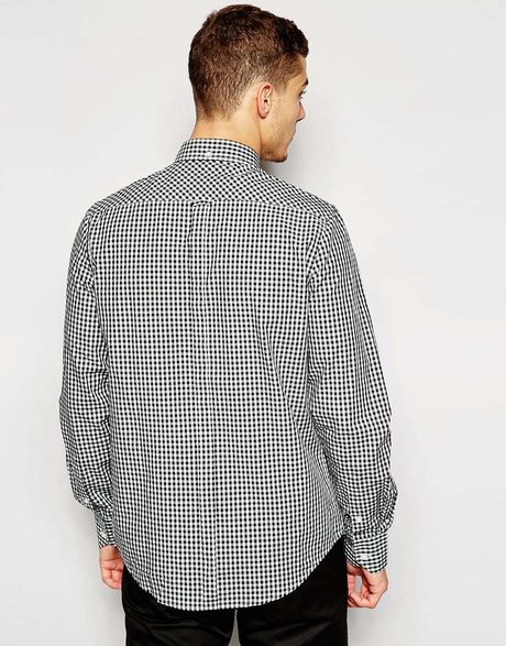 Ben Sherman Black Shirt With Gingham Check For Men Lyst