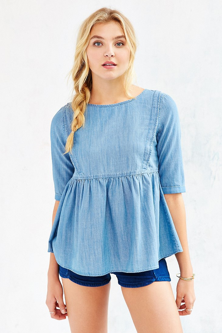 Bdg babydoll chambray top in blue lyst for Chambray top