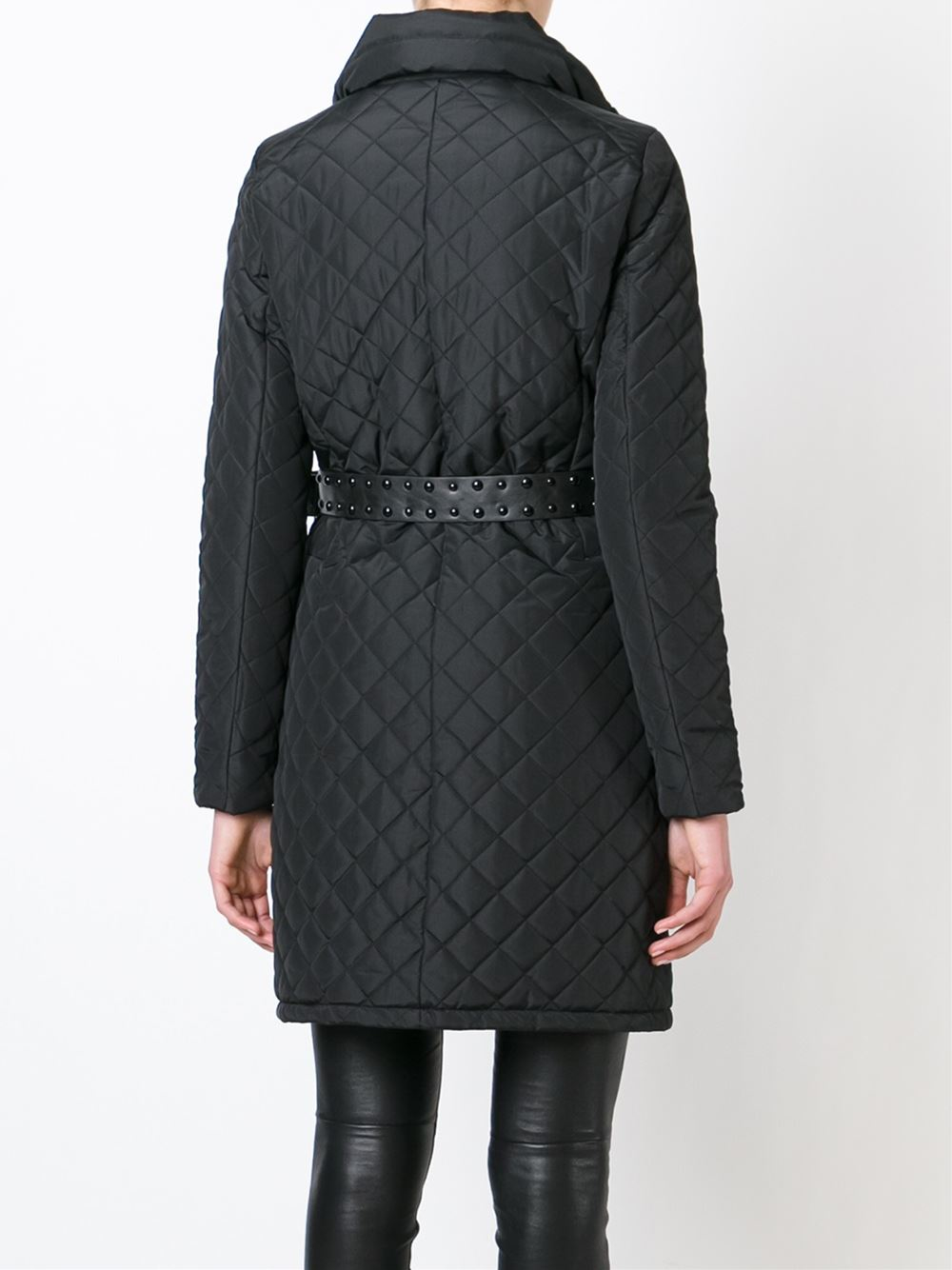 Lyst Michael Michael Kors Belted Quilted Coat In Black