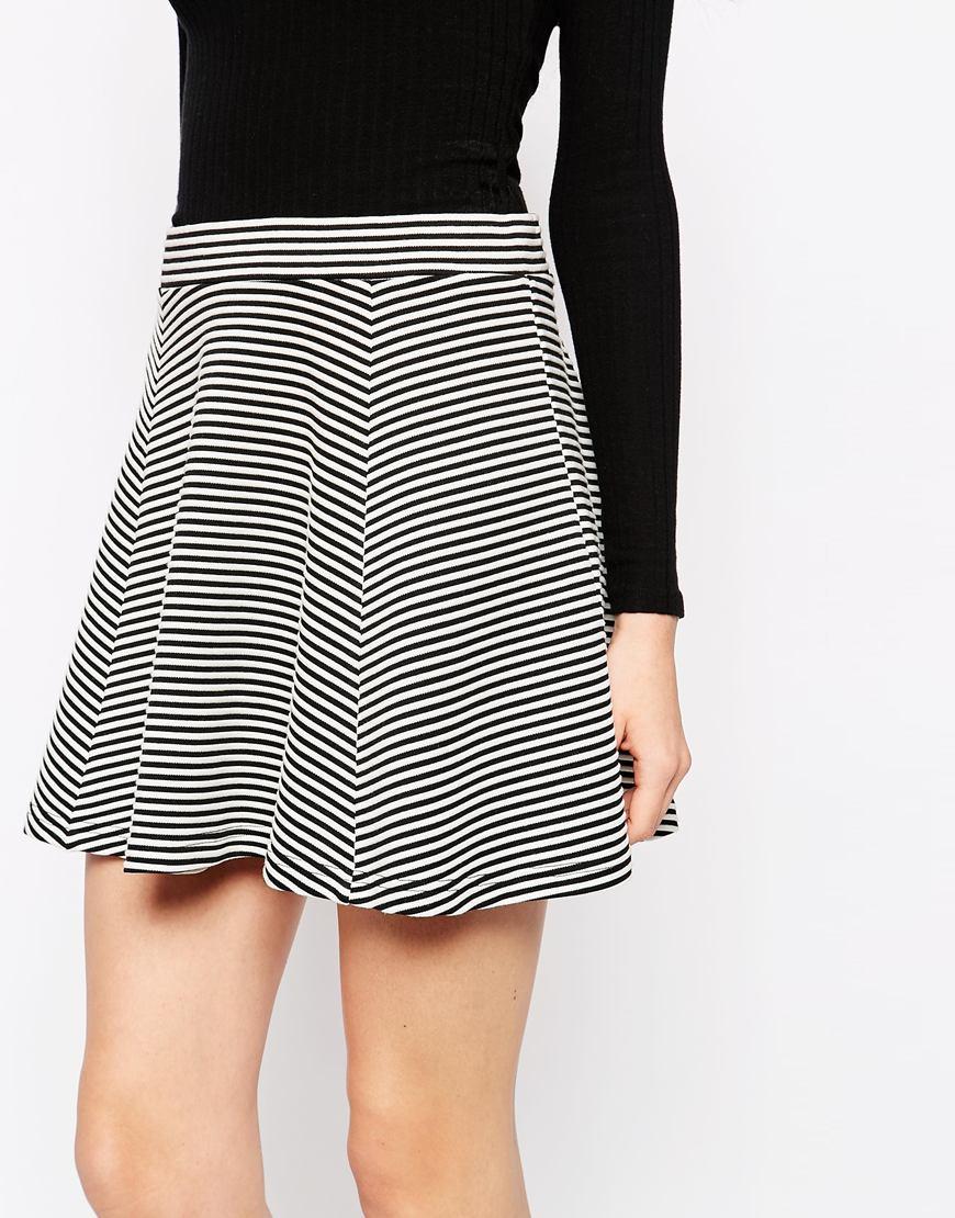 4170b95adf Monki Striped Mini Skater Skirt in Black - Lyst