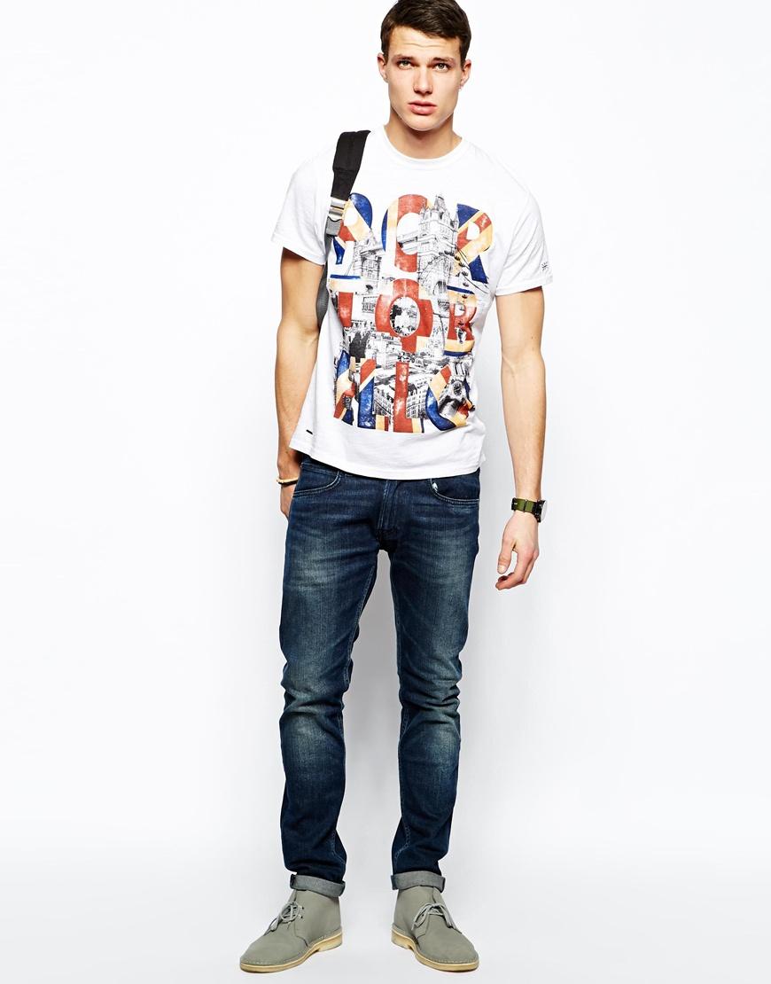 Lyst - Pepe Jeans Pepe Tshirt Portobello London Print in White for Men