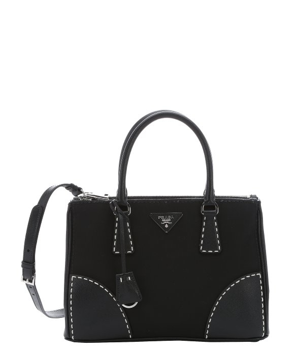 701392be15b0 Lyst - Prada Black Leather And Nylon Stitched Convertible Tote in Black