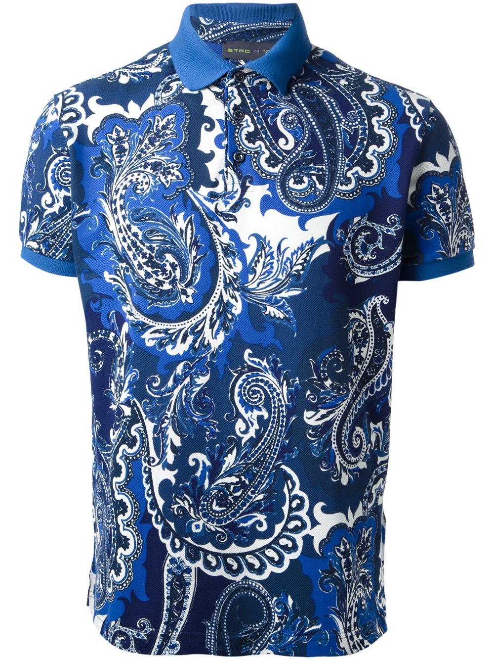 Lyst etro paisley print polo shirt in blue for men for Etro men s shirts