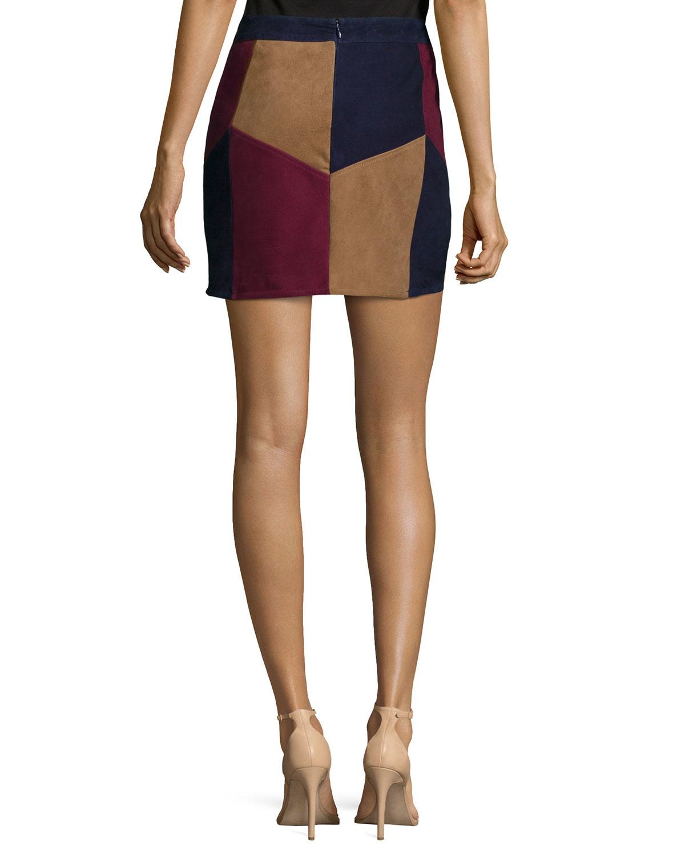 Lamarque Kewa Patchwork Suede Skirt in Brown | Lyst