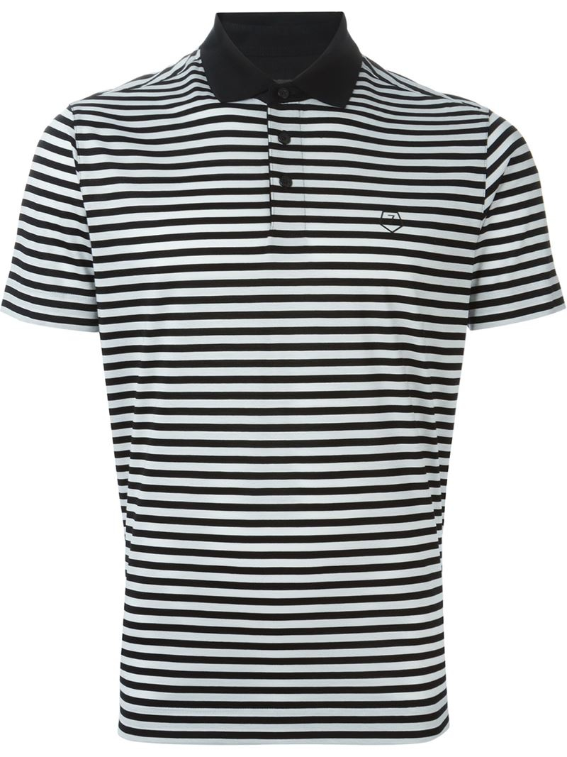 Z zegna striped polo shirt in black for men lyst for Zegna polo shirts sale