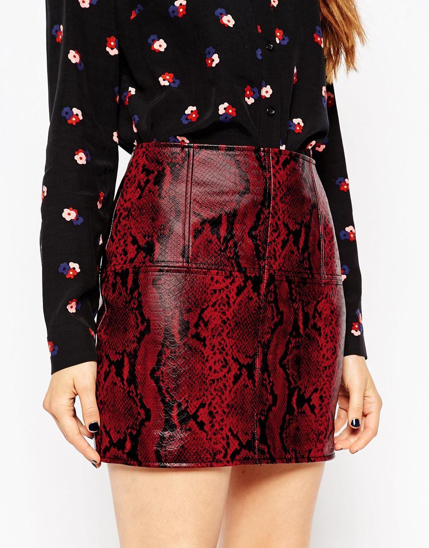Asos Mini Skirt In Leather Look With Red Snake in Red | Lyst