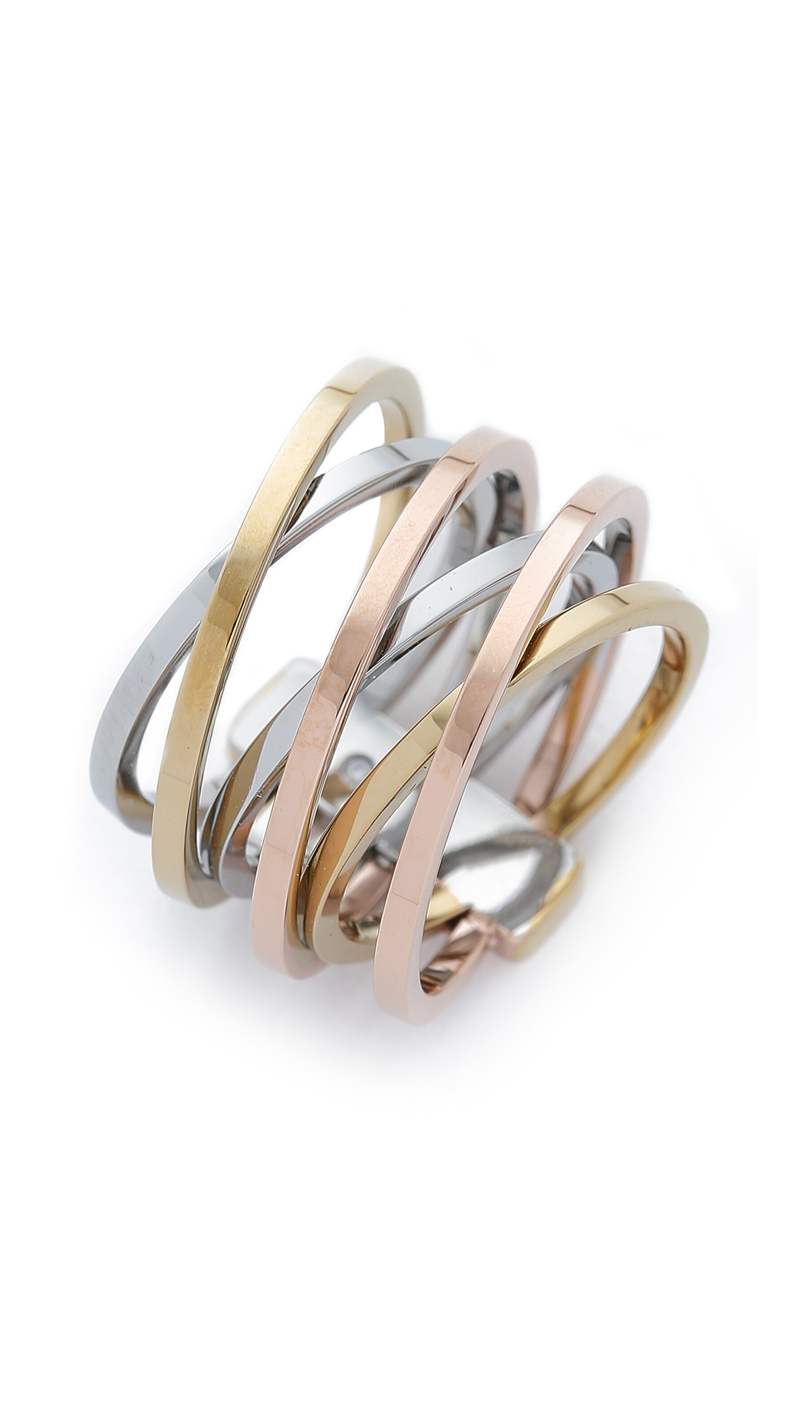 rings tri ring normal kors product jewelry tone stack lyst pink michael in tritone