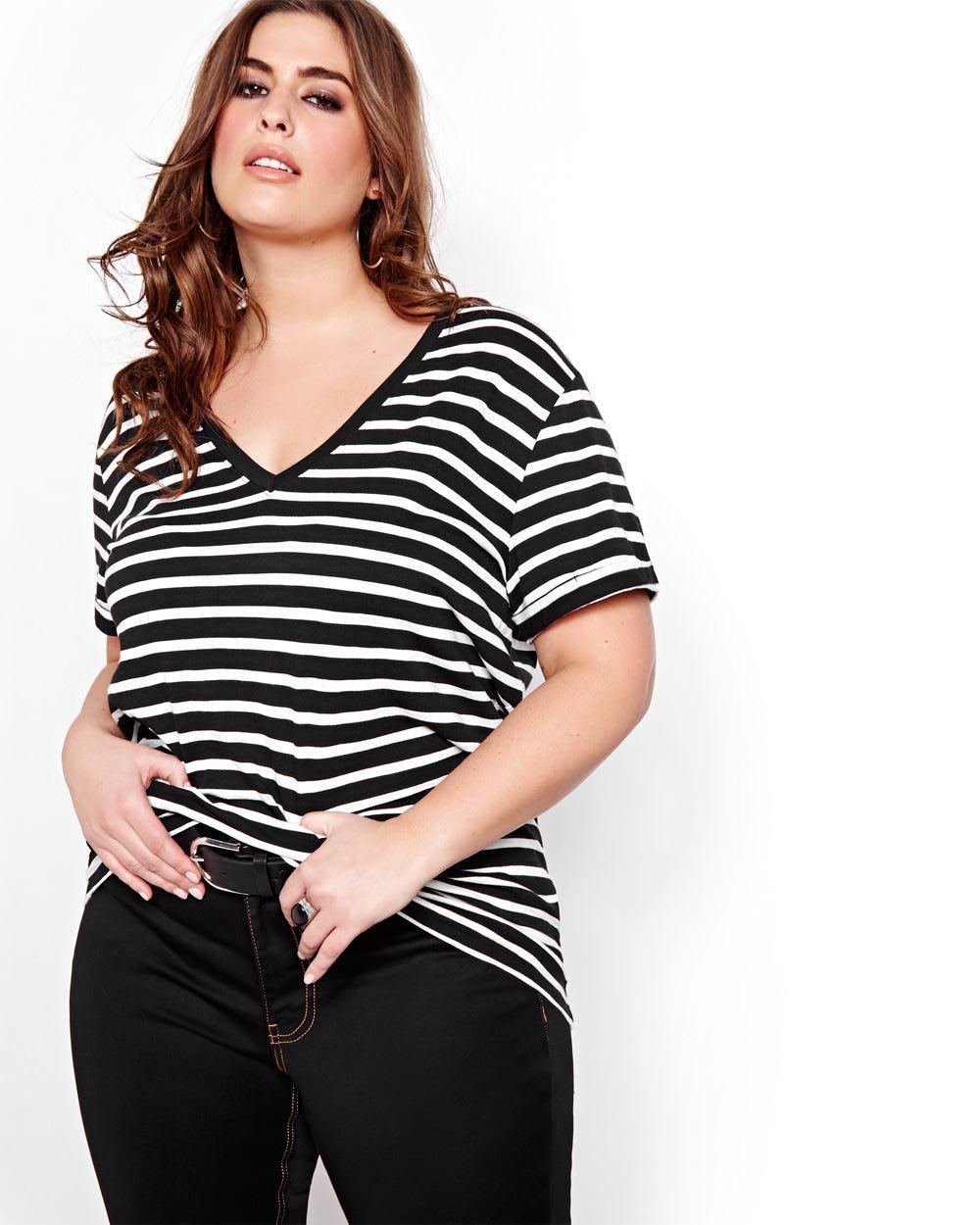 417685ac15c Lyst - Addition Elle L l Striped Boyfriend T-shirt in Black