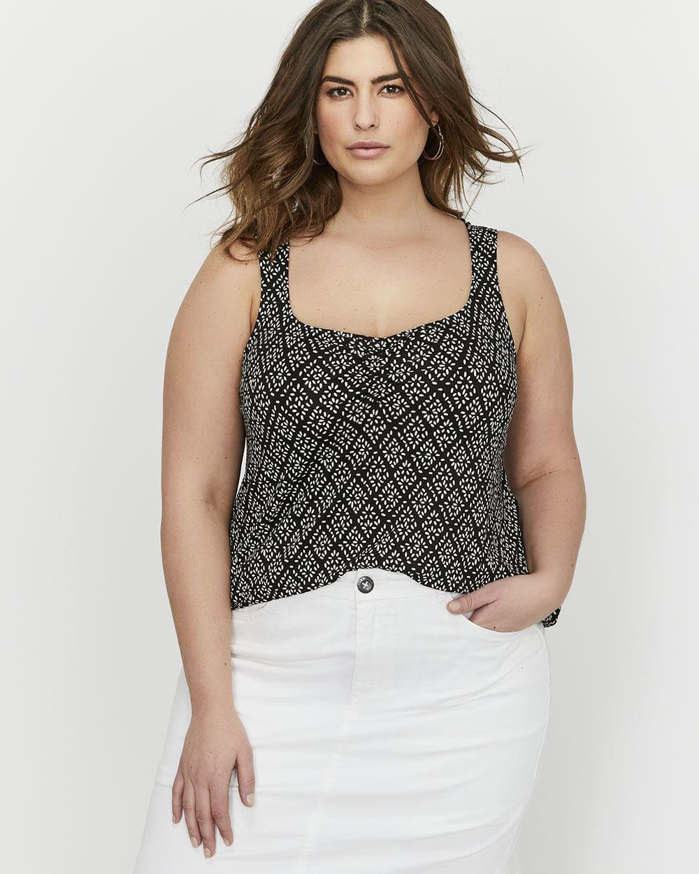 6a8006cb44bac Lyst - Addition Elle Michel Studio Printed Sweetheart Tank Top in Black