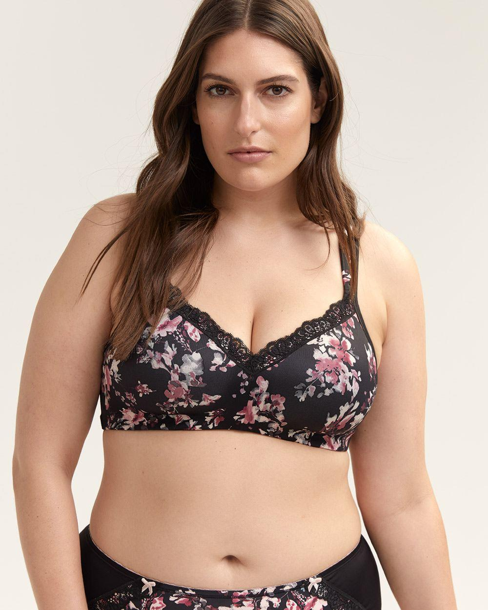 75c1d0c127 Addition Elle. Women s Black Printed Padded Wirefree Bra With Lace