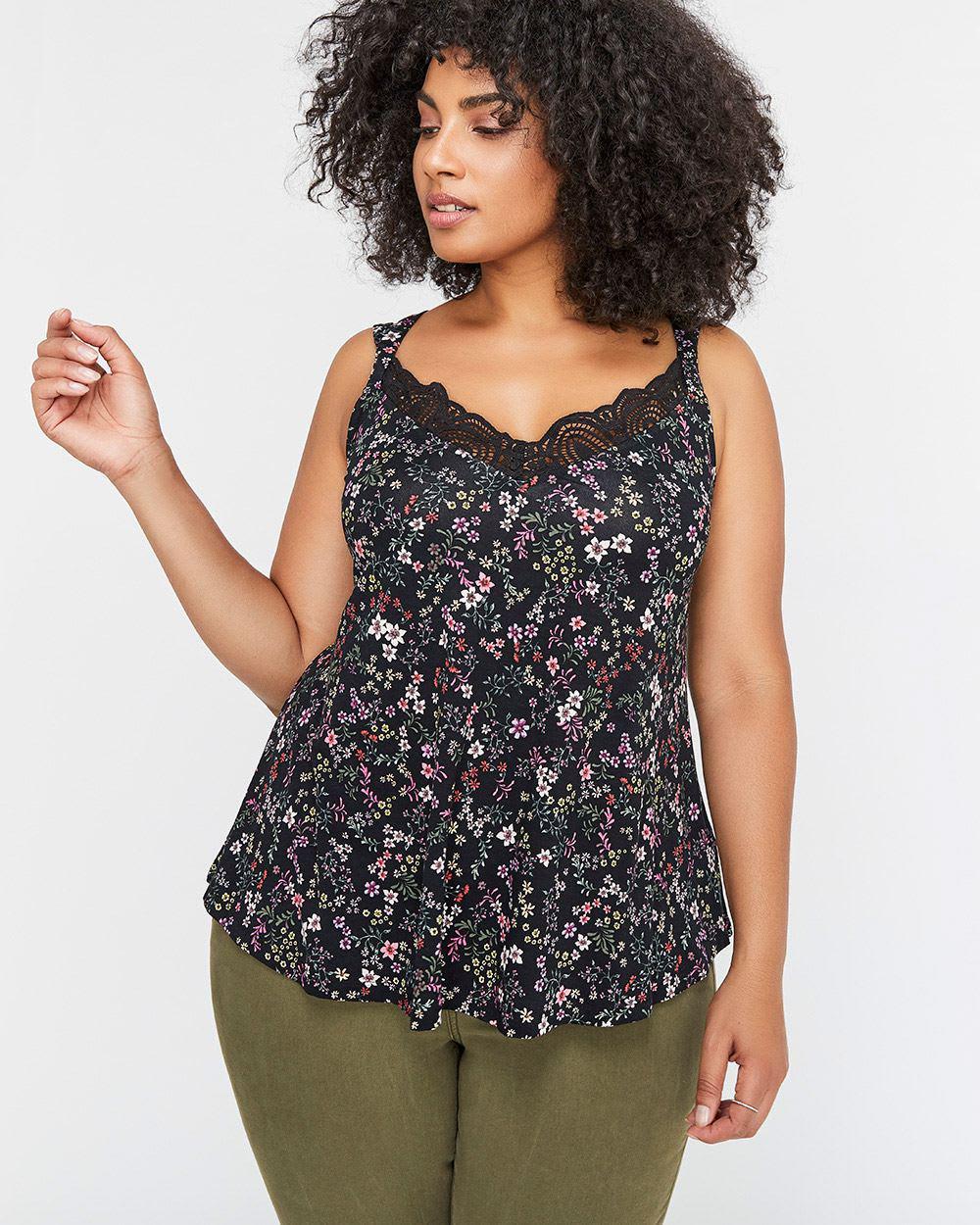 41ef07233fcfe Addition Elle. Women s Black Michel Studio Crochet Lace Neckline Printed  Camisole