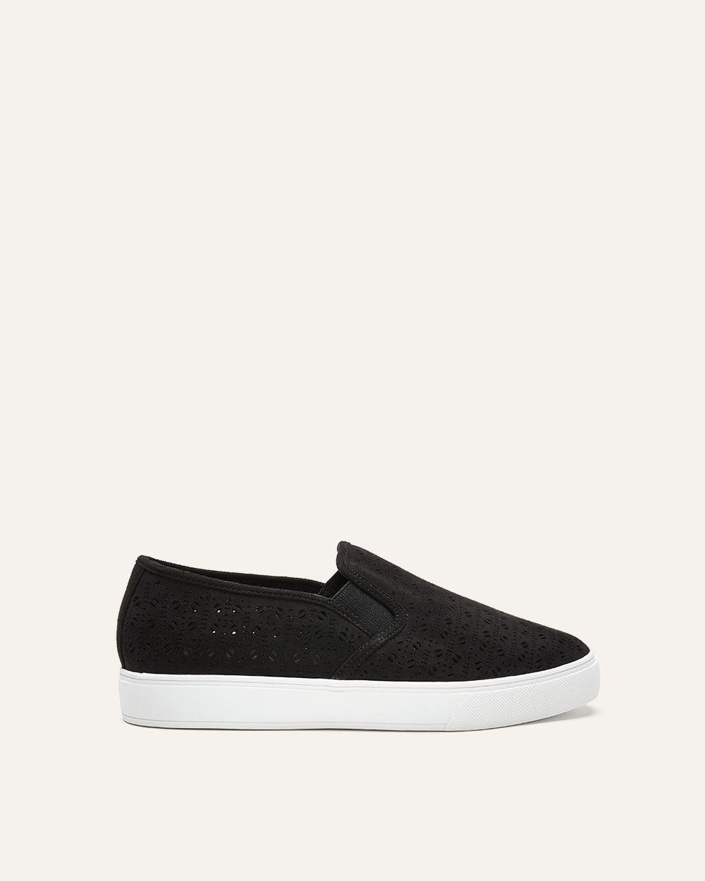 1fda799616e Lyst - Addition Elle Wide Laser Cut Slip-on Sneakers in Black