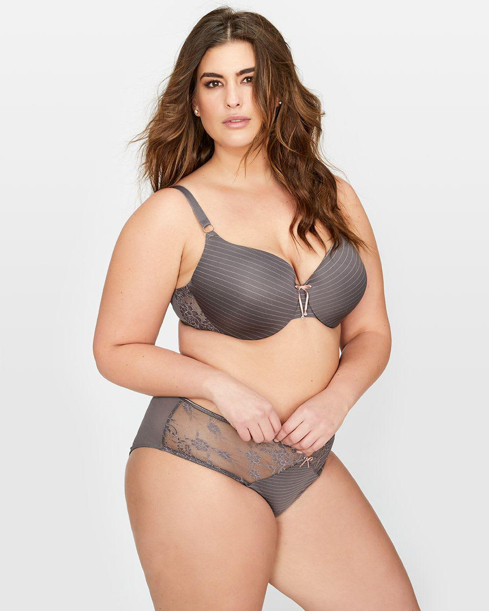 289d28004968b Lyst - Addition Elle Ashley Graham Lace And Striped Icon T-shirt Bra