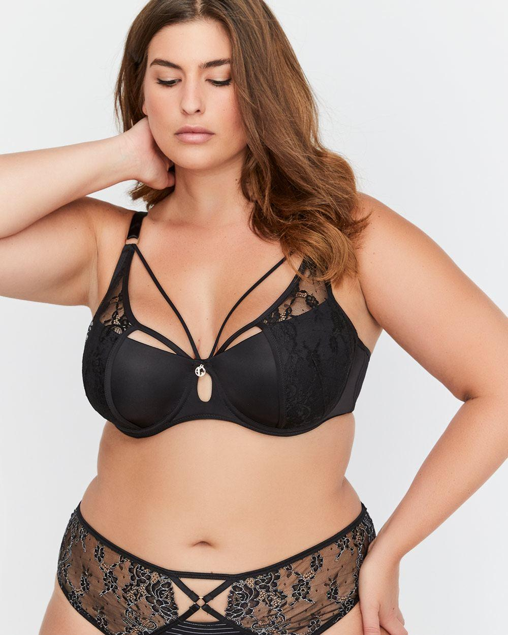 d7a7697786 Lyst - Addition Elle Micro Jersey Demi Cup Diva Bra With Lace ...