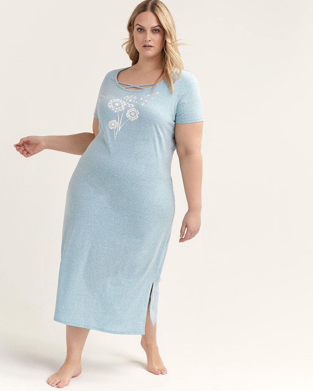 e8546d987 Lyst - Addition Elle Printed Cotton Long Sleepshirt - Ti Voglio in Blue