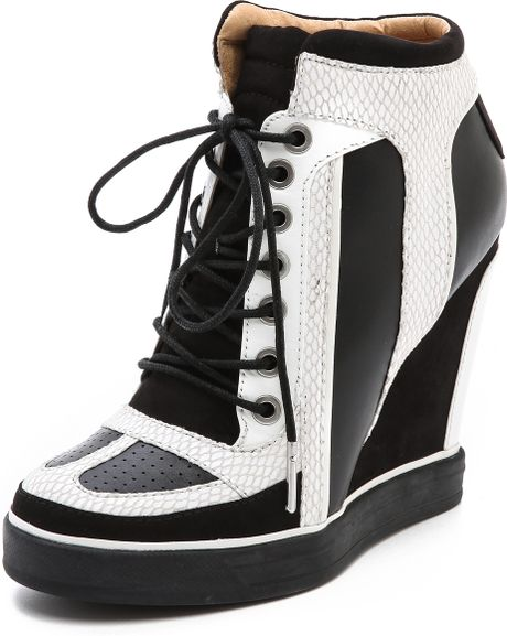 L.a.m.b. Summer Lace Up Wedge Sneakers in Black (White/Black)