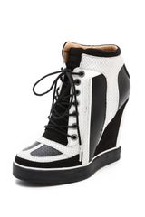 L.a.m.b. Summer Lace Up Wedge Sneakers in Black (White/Black) - Lyst