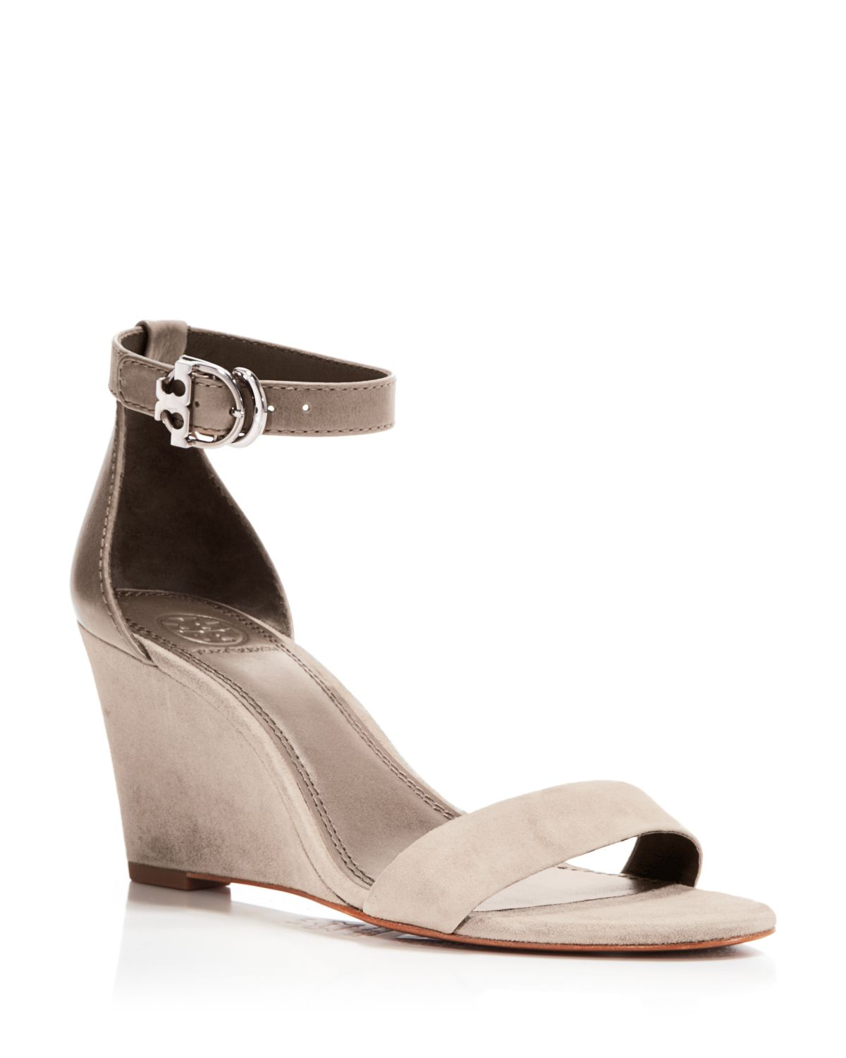 9aa17b1cb4d Lyst - Tory Burch Ankle Strap Wedge Sandals - Grant Suede in Natural