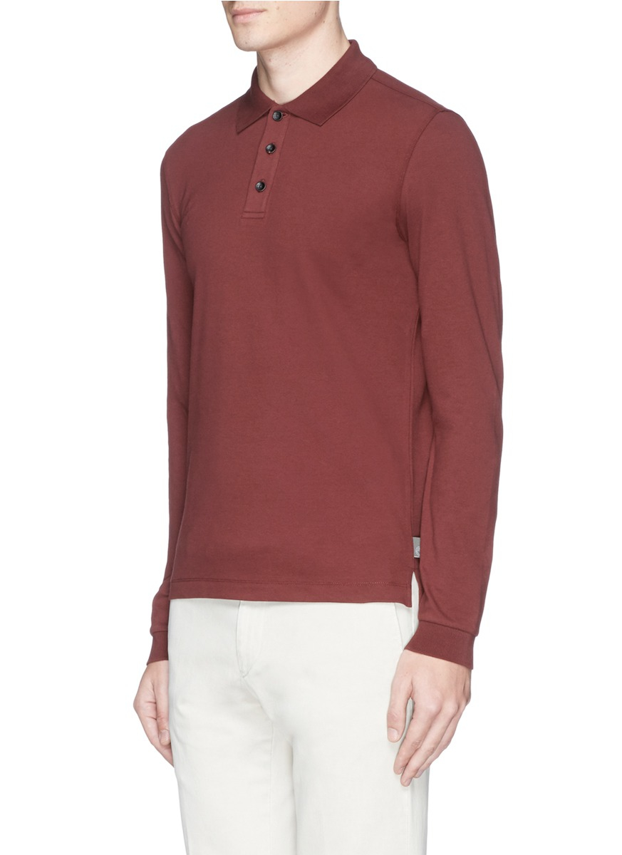 Armani Spread Collar Long Sleeve Polo Shirt In Brown For