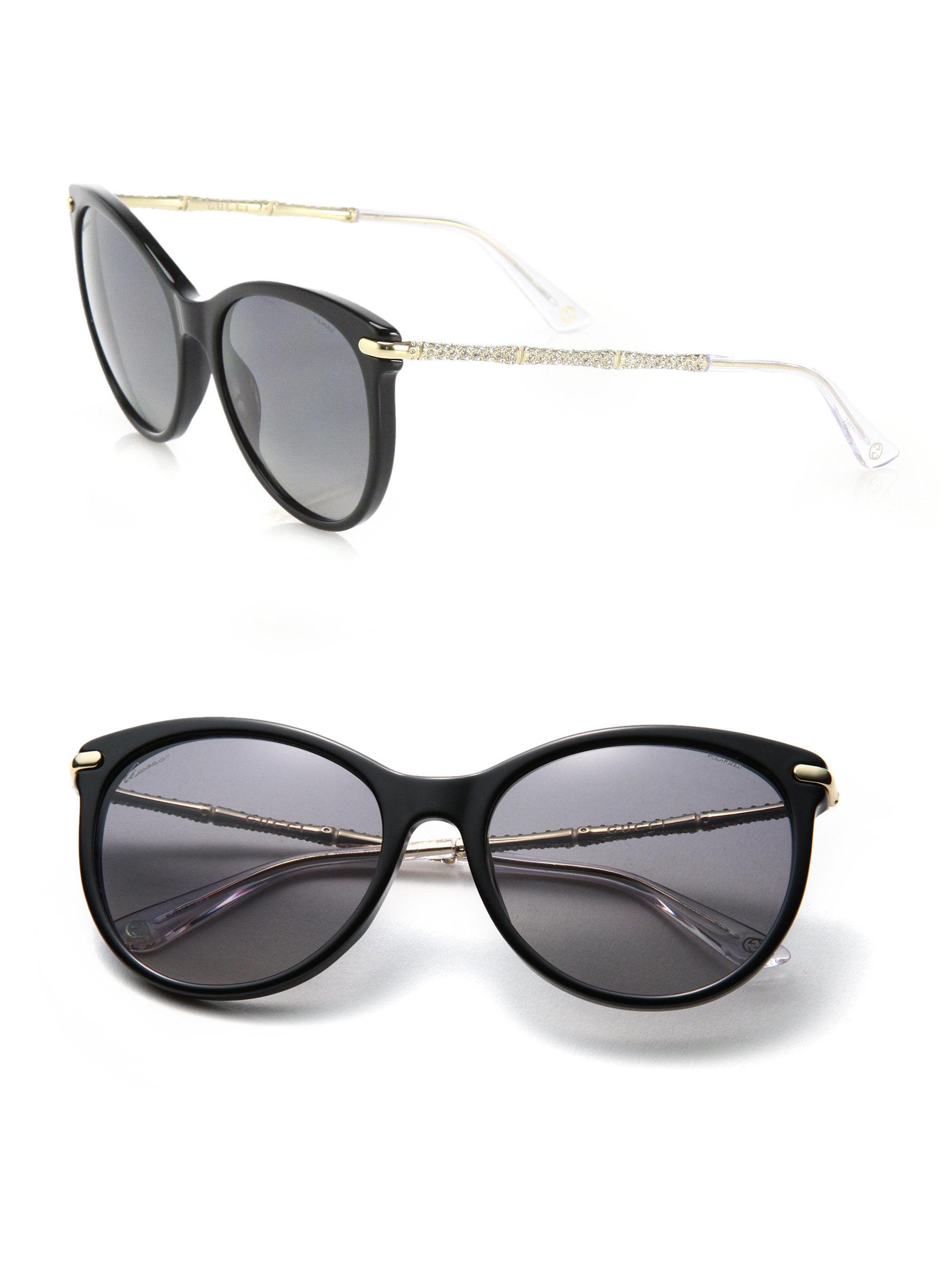 fd0a14eeff8 Lyst - Gucci Crystal Bamboo 56mm Cat s-eye Acetate   Metal ...