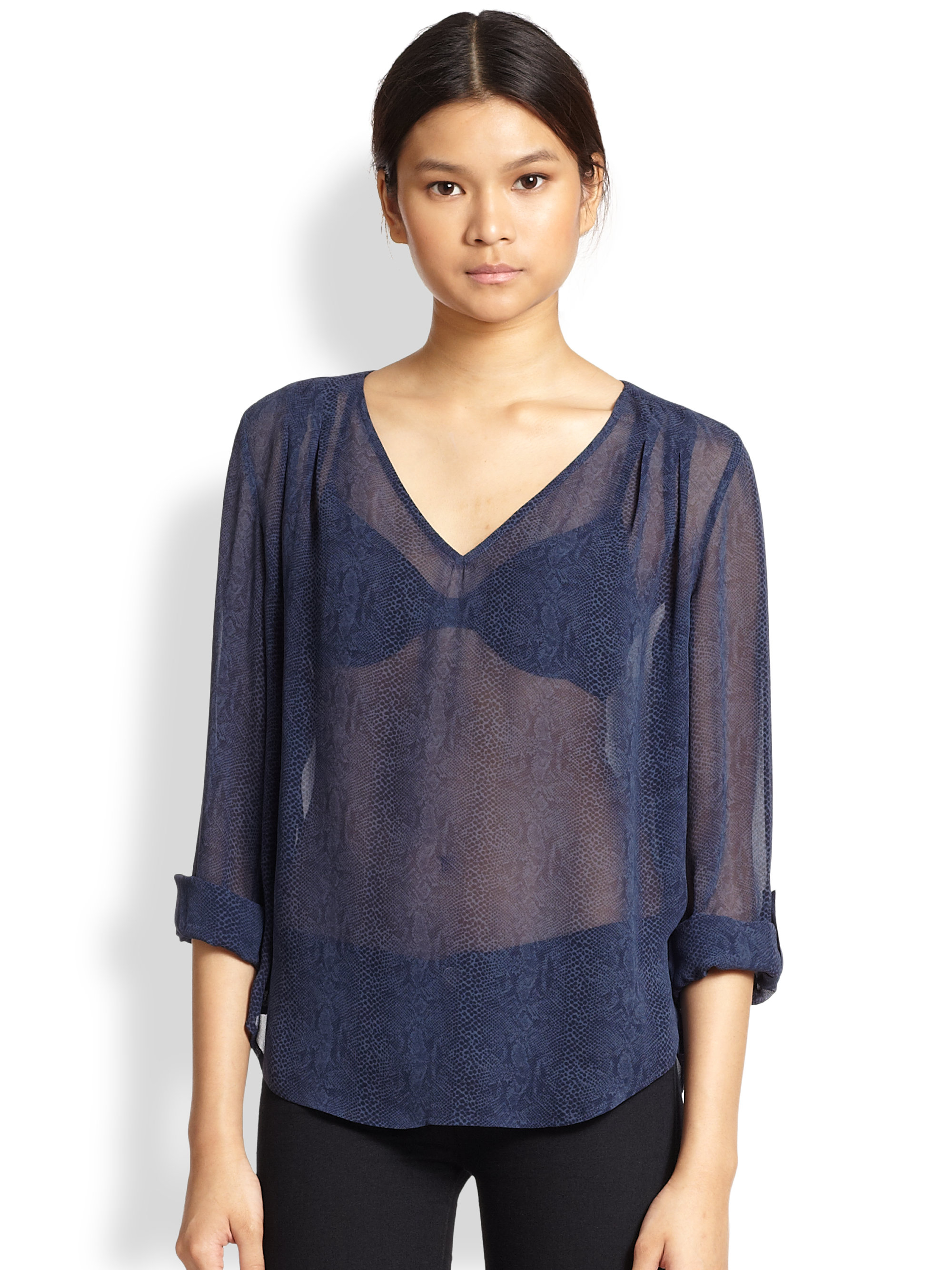 Product Description: Soft sheer blouse features a ruffled neck with a lovely lace-up detail. Long sleeves with a flared cuff. Elastic waist details for added tanahlot.tk: Rosegal.