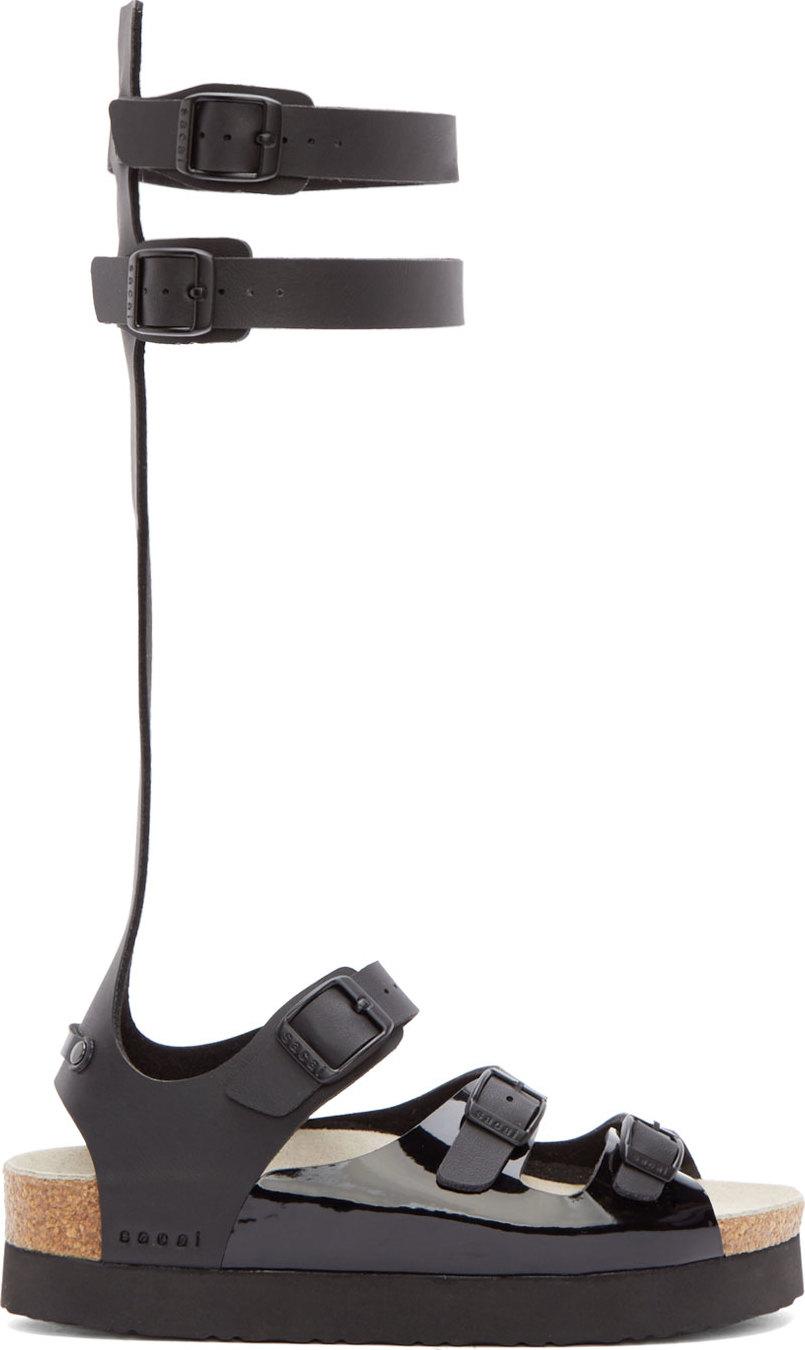 cf3cd4083c4 Lyst - Sacai Luck Black Calf Strap Sandals in Black