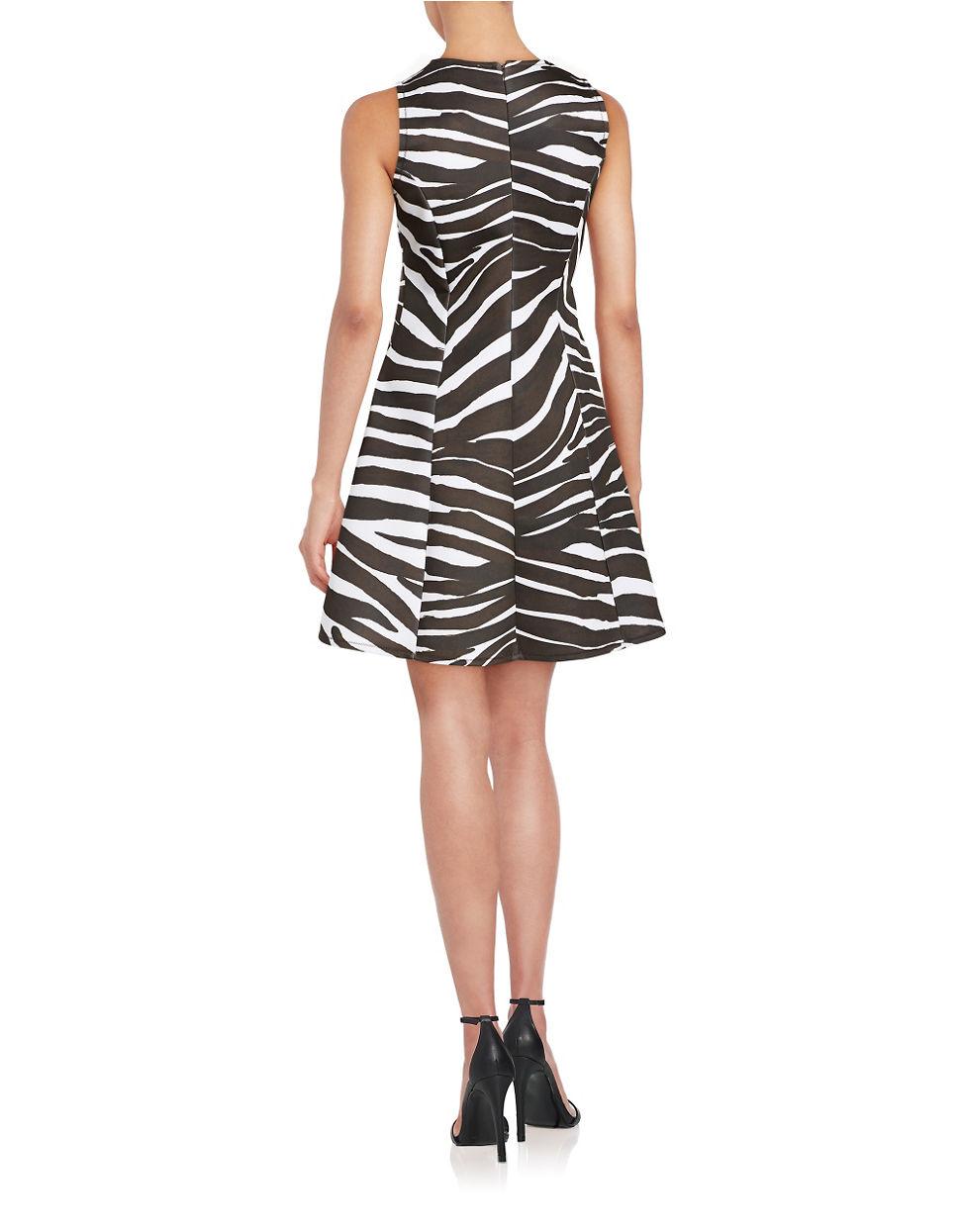 Michael Michael Kors Zebra Print Fit And Flare Dress In
