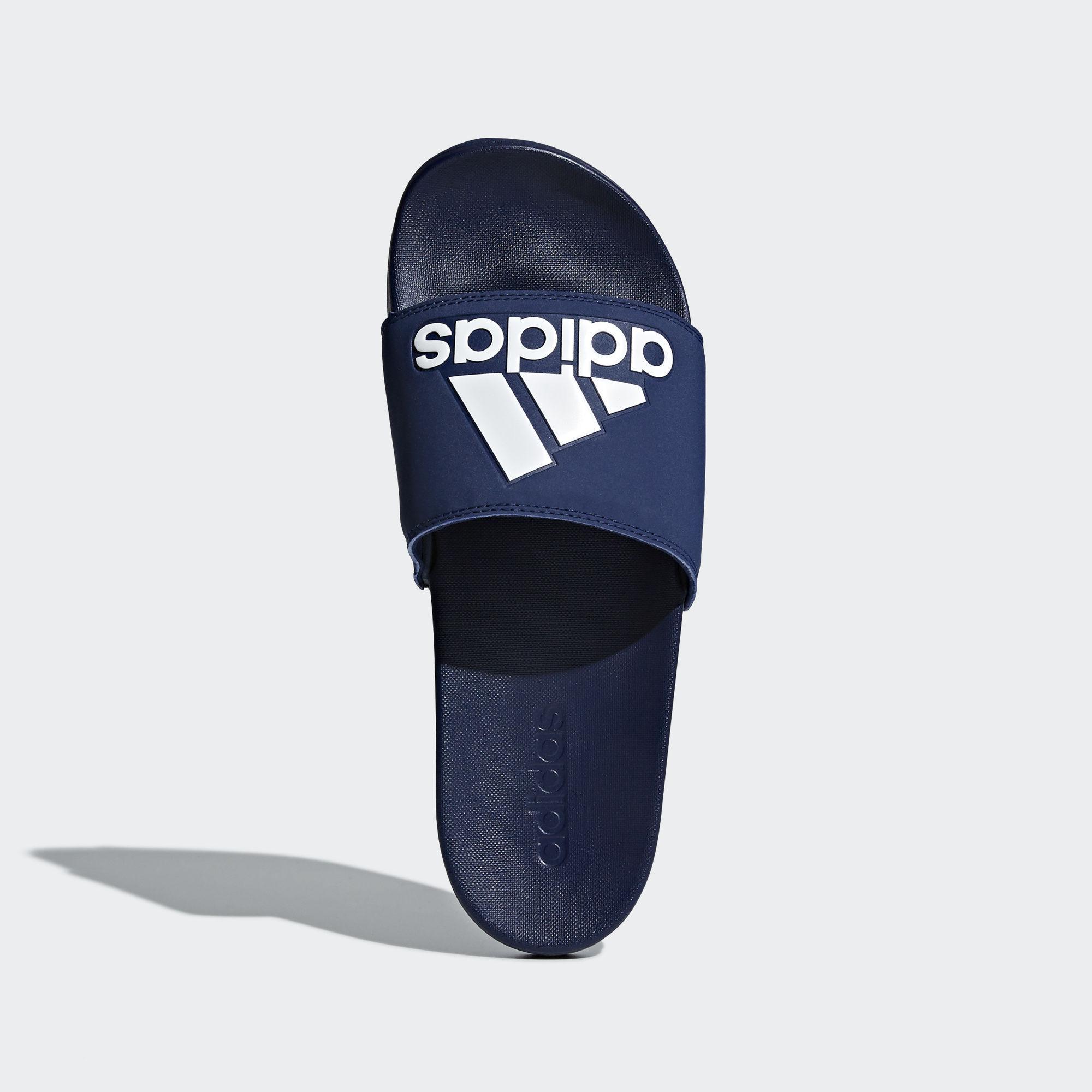 e1d70d89414176 Adidas - Blue Adilette Cloudfoam Plus Logo Slides for Men - Lyst. View  fullscreen