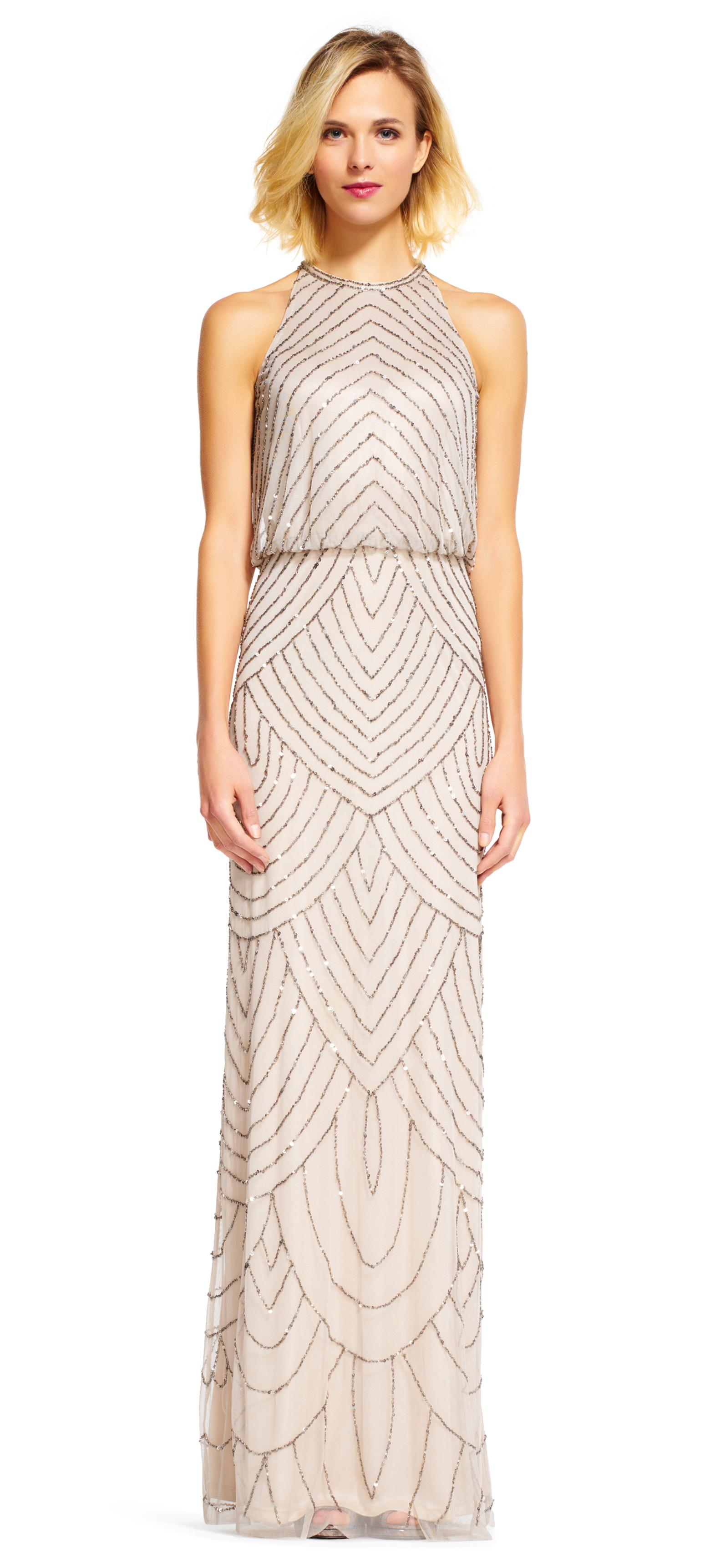 Adrianna papell art deco beaded blouson dress with halter for What kind of shoes to wear with wedding dress