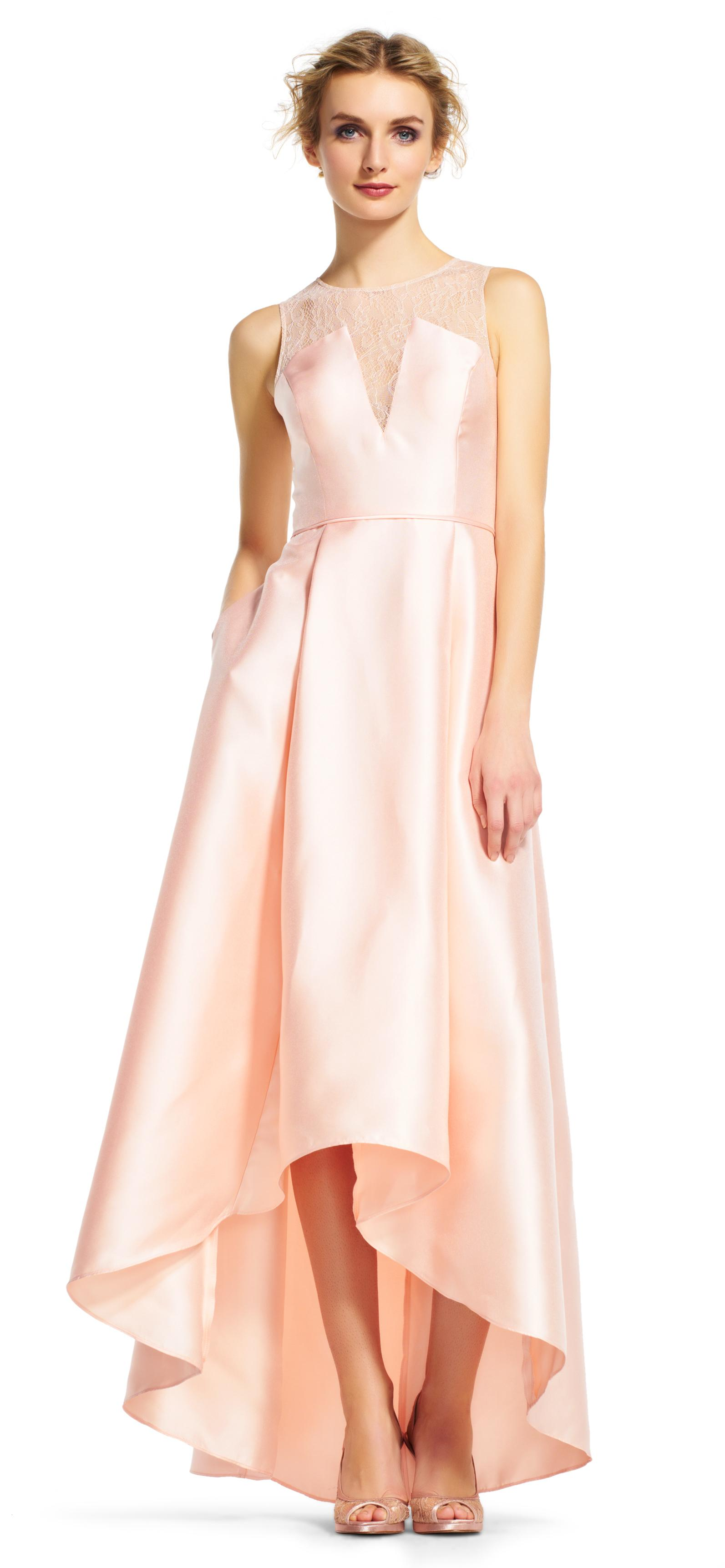 Lyst Adrianna Papell High Low Ball Gown With Sheer Lace