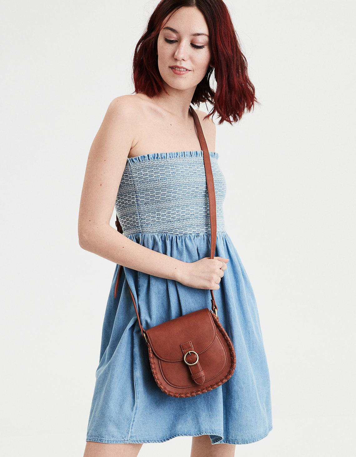 4fccadba193c Lyst - American Eagle Ae Denim Smocked Tube Dress in Blue