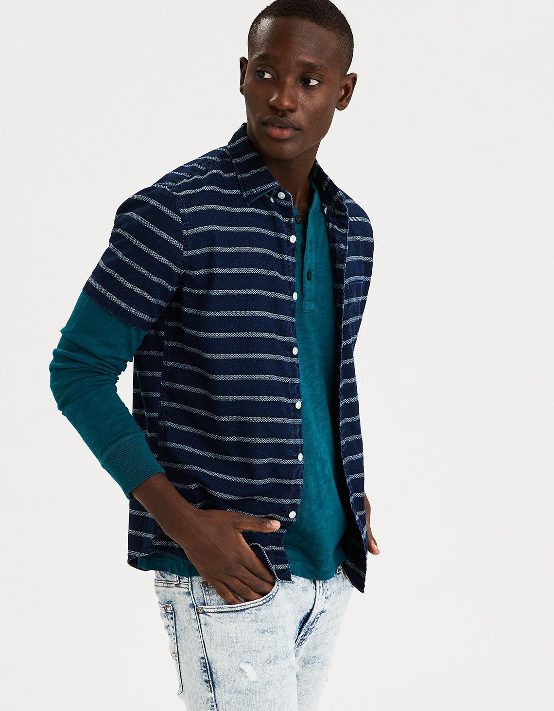 ccfb29ab47a Lyst - American Eagle Ae Chambray Button Down Shirt in Blue for Men