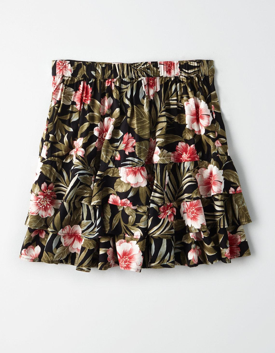e91731f25 Lyst - American Eagle Ae High-waisted Tropical Tiered Mini Skirt in ...