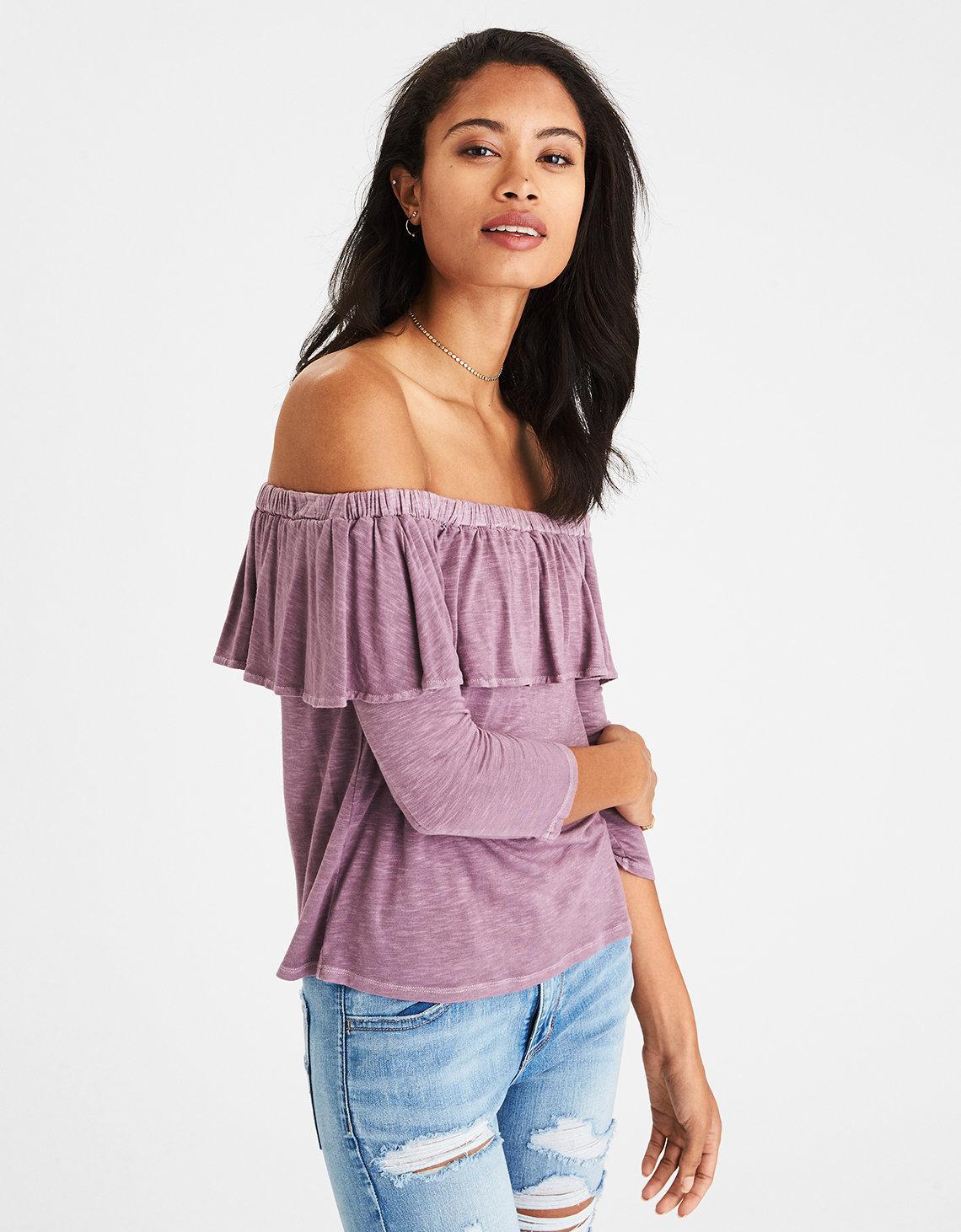 92b67e6781eb2 Lyst - American Eagle Soft   Sexy Off-the-shoulder Ruffle Top in Purple