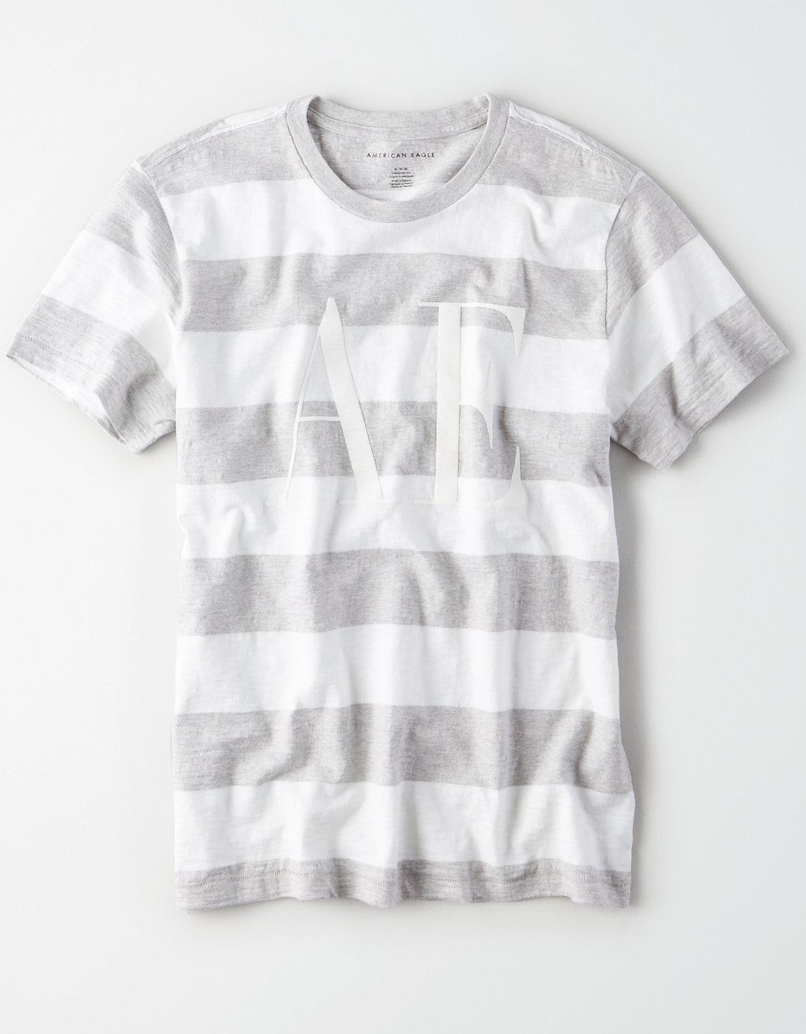 8610c6ab American Eagle - White Ae Short Sleeve Striped Graphic Tee for Men - Lyst