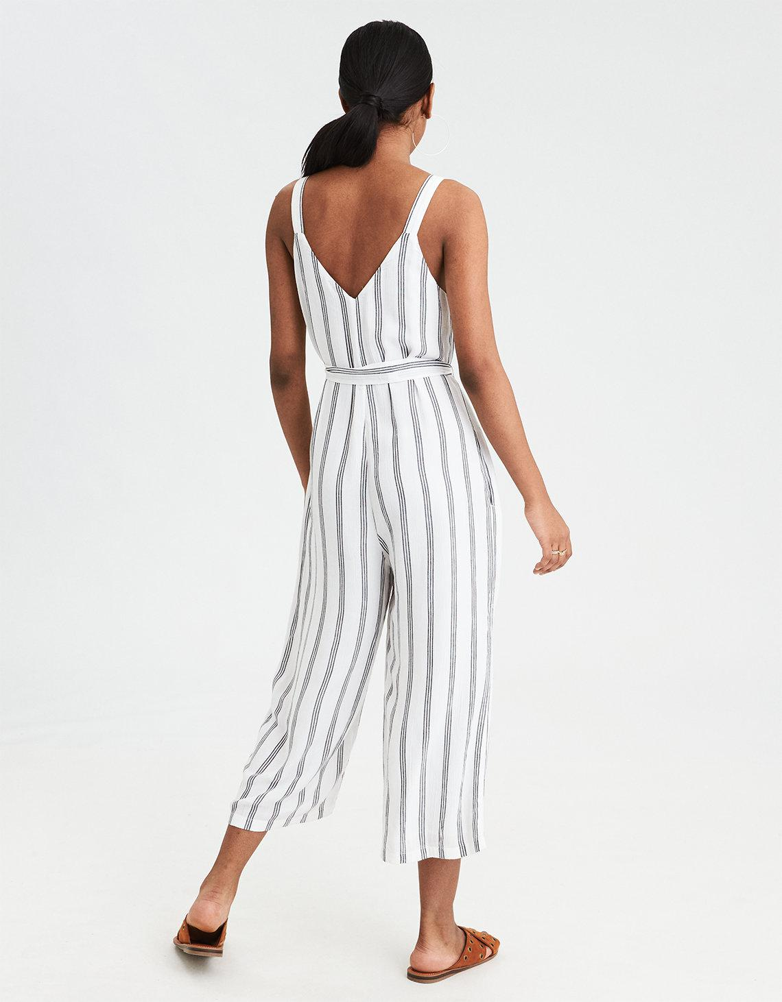 0e37d97f072 Lyst - American Eagle Ae Striped Button-front Culotte Jumpsuit in White