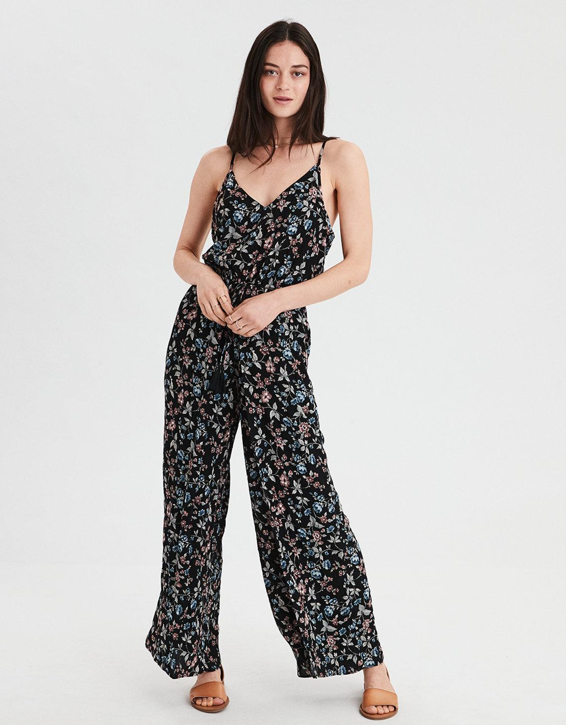 43261ff0bc00 Lyst - American Eagle Ae Strappy Tie Front Jumpsuit in Black