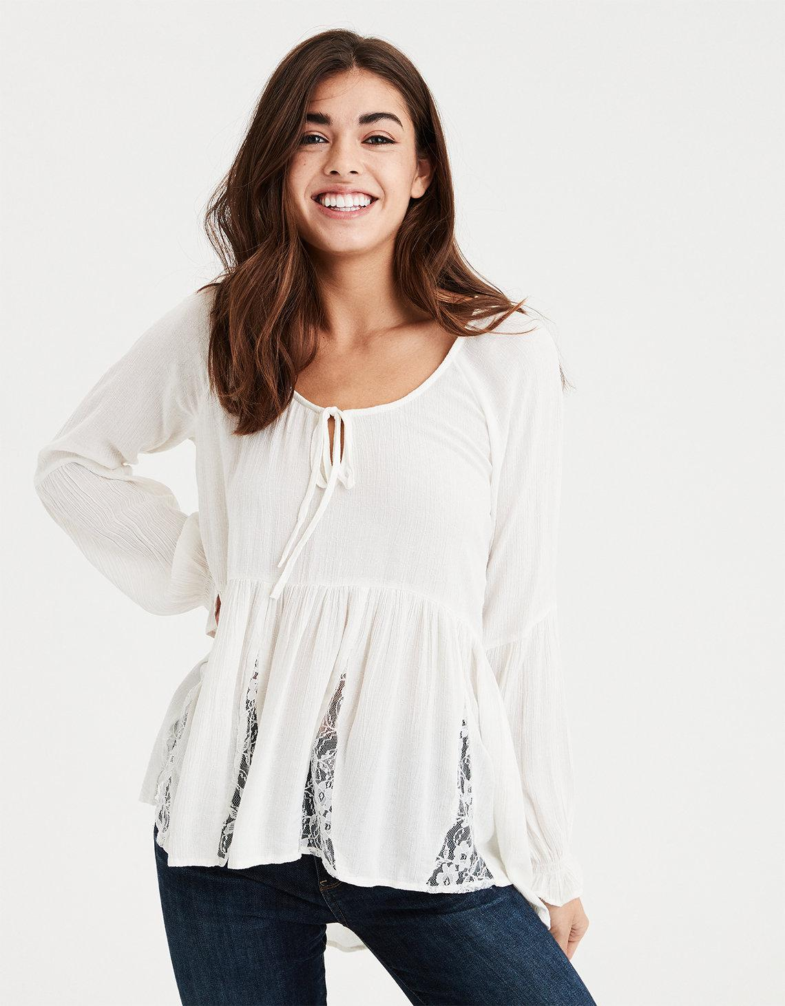 459c802df5628 Lyst - American Eagle Ae Lace Inset Long Sleeve Top in White
