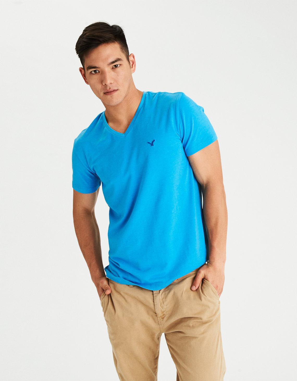 b832049d906d American Eagle Flex Solid V-neck T-shirt in Blue for Men - Lyst
