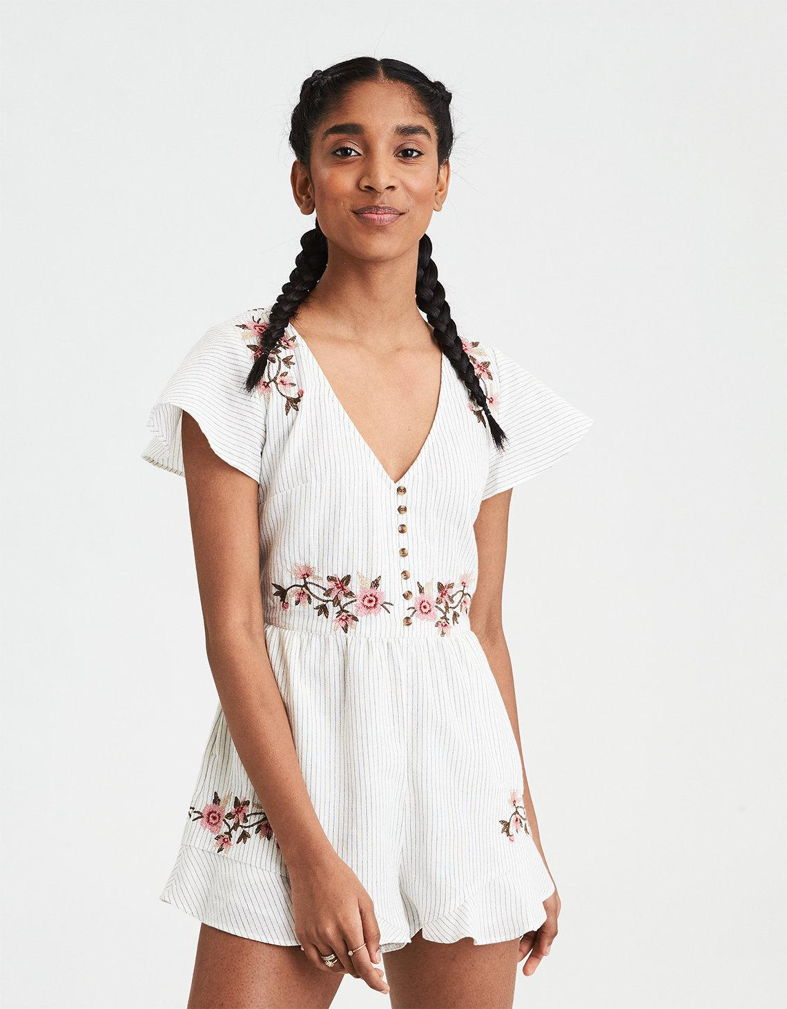9060b9bc381 Lyst - American Eagle Ae Button Front Embroidered Romper