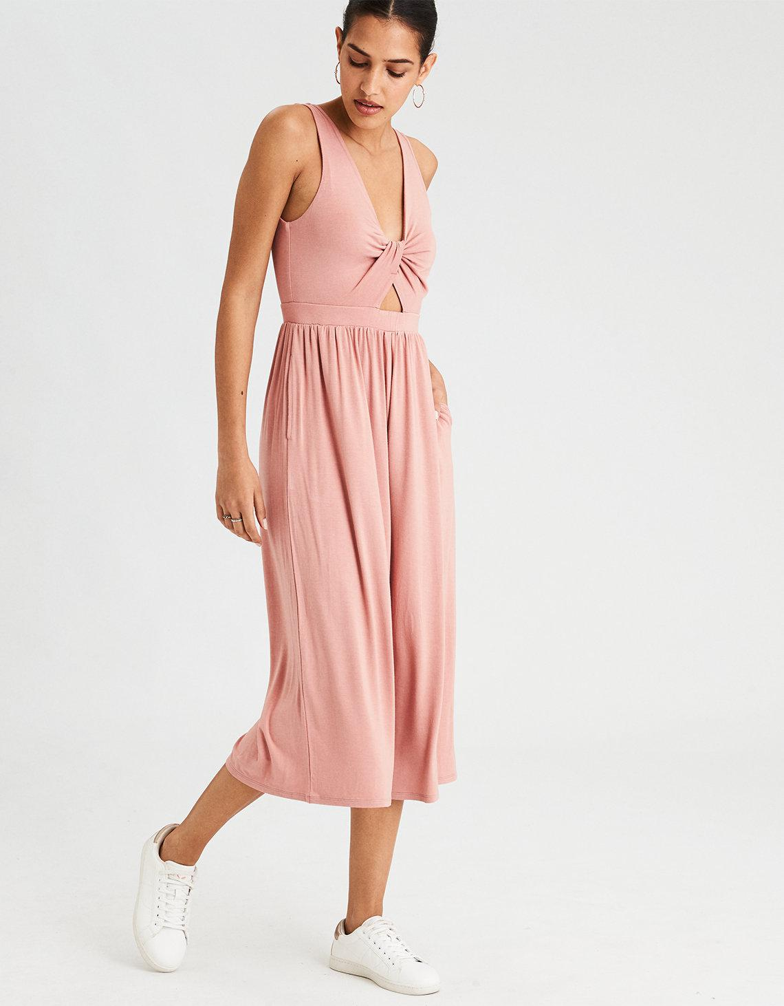 4664d2685c40 Lyst - American Eagle Ae Twist Front Culotte Jumpsuit in Pink